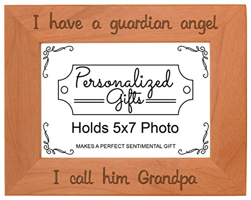 - ThisWear Grandpa Remembrance Frame I Have a Guardian Angel in Remembrance Gifts Men Natural Wood Engraved 5x7 Landscape Picture Frame Wood