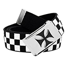 Men's Silver Flip Top Enameled Iron Cross Buckle with Printed Canvas Web Belt