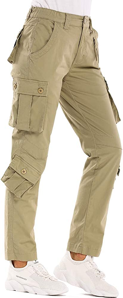 Cotton Casual Cargo Work Pants Military Army Combat Trousers 8 Pockets Womens Tactical Pants