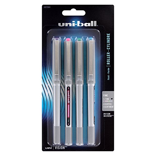 Uni-Ball Vision Stick Roller Ball Pens, 0.7mm, Fine Point, Assorted Fashion Colors, 4-Count