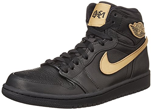 Nike Mens Air Jordan 1 Retro High BHM Black/Gold Leather Size 10