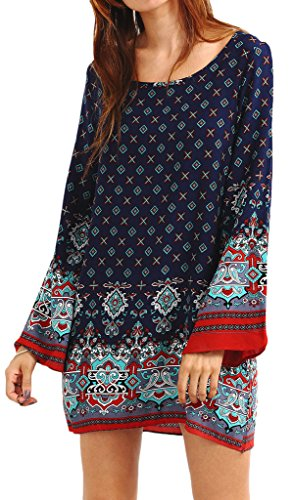 Boho-Chic Vacation & Fall Looks - Standard & Plus Size Styless - Risesun Women's Bohemian Vintage Printed Ethnic Style Loose Casual Tunic Dress(2XL,Blue)