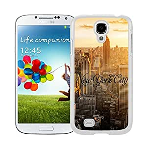New Style View Window Design Smart Cover For Samsung Galaxy S4 i9500 New York City Watercolor Samsung Galaxy S4 i9500 Case White Cover