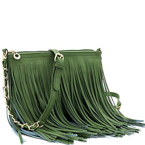 Front and Back Both Side Fringed Soft PU Leather Medium Long Cross Body Messenger Shoulder Bag (L.OLIVE) (Fringe Olive)