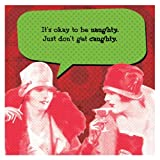 Funny Holiday IMproper Greeting Beverage Napkin-Naughty