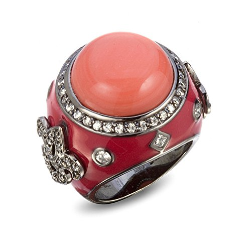 Black Rhodium Plated Sivler Simulated Coral Cabochon Ring with Red Enamel Size 6