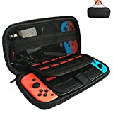 APlus Nintendo Switch Deluxe Travel Case Holds 20 Games, Carry Case Compatible with Nintendo Switch Console & Accessories-BLACK