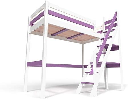 ABC MEUBLES - Cama Alta Sylvia con Escalera empinada - 1130 - Blanco/Lila, 90x200: Amazon.es: Hogar