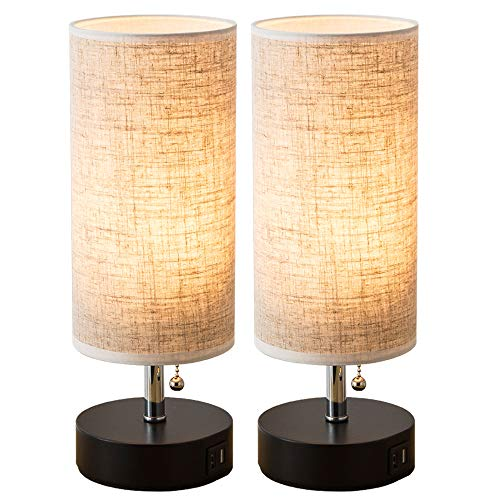 Dual Shade Table Lamp - Lifeholder Table lamp, Black Wooden Base Beside Desk Lamp,Nightstand Lamp with Dual USB Charging Port, Beside USB Table Lamp Perfect for Bedroom, Living Room or Office (2 Packs)