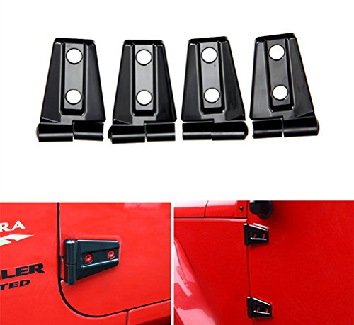 Bolaxin ABS Black Left & Right Car Exterior Door Hinge Cover Kit For 2007-2015 Jeep Wrangler JK (for 2 door)