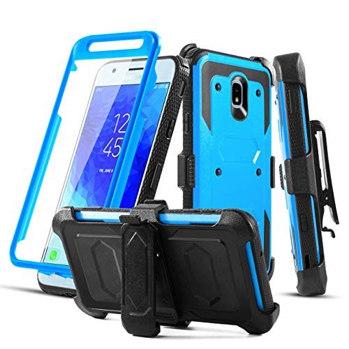 Aetech Phone Case for Samsung Galaxy J3 Achieve /J3 Star/J3 Orbit/J3 V 3rd Gen/Top/Aura/ J3V /2018/J3 Express Prime 3/Sol 3/Amp Prime 3 with Belt Clip Screen Protector Kickstand for Boys Gilrs (Blue)