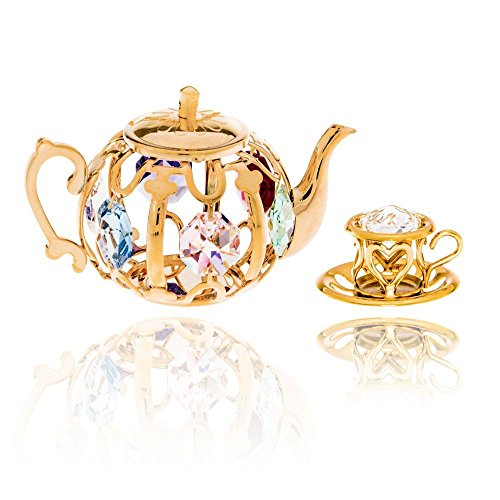 (24K Gold Plated Crystal Studded Tea Set Ornaments by Matashi (R))