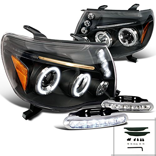 Toyota Tacoma X Pre Runner, Black Halo Projector Headlights, Led Bumper Drl Set (Tacoma Black Headlights compare prices)