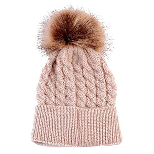 Gotd Baby Girls Boys Kids Knit Cap Winter Warm Hat Hemming Cap (Beige)
