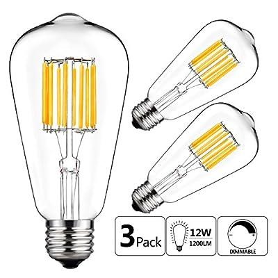 GEZEE 10W Edison Style Vintage LED Filament Light Bulb,100W Incandescent Replacement,Warm White 2700K,1000LM, E26 Medium Base Lamp, ST21(ST64) Antique Shape, Dimmable(3 Pack)