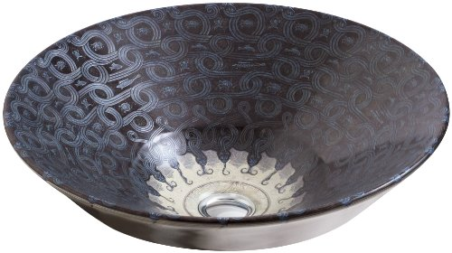 KOHLER K-14223-SP-G9 Serpentine Bronze Design on Conical Bell Vessels Bathroom Sink, Sandbar