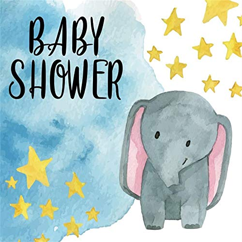 Baocicco 8x8ft Cartoon Blue Elephant Baby Shower Party Backdrop Background Blue Sky Yellow Stars Cute Blue Little Elephant Welcome Photo Portrait Studio Props Booth (Photo Album Digital 8')