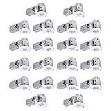 """Globe Electric 4"""""""" Swivel Spotlight Recessed Lighting Kit Dimmable Downlight, Contractor's 20-Pack, White Finish, Easy Install Push-N-Click Clips, 90948"""