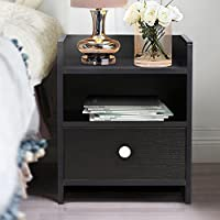 One Drawer Nightstand, Wooden End Table / Side Table, Black