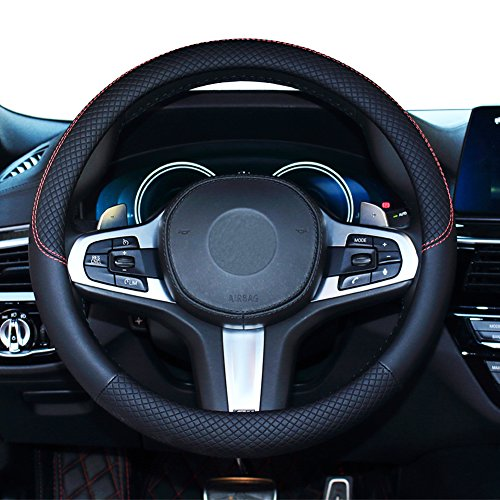 (SHIAWASENA Car Steering Wheel Cover, Genuine Leather, Universal 15 Inch Fit, Anti-Slip & Odor-Free (Black))