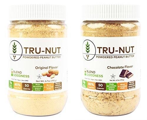 Tru-Nut 6.7ounce Powdered Peanut Butter, Original and Chocolate, 2 Count