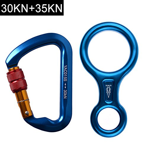 AYAMAYA 30KN Screwgate Locking Climbing Carabiners & Figure 8 Descender,Outdoor D-ring Hook Rappel Device for Rappelling Belaying Rock Climbing,Blue (Figure 8 Belay Device compare prices)