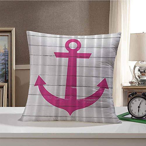 ZWARRT Decorative Throw Pillow Striped Nautical Marine Ship Coastal,Anchor Antiqued Rustic Striped Wooden Planks Sea…