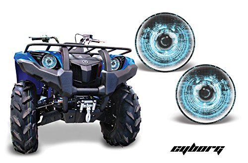 (AMR Racing ATV Headlight Eye Graphic Decal Cover for Yamaha Grizzly 660/450/400/350/125 - Cyborg Blue)