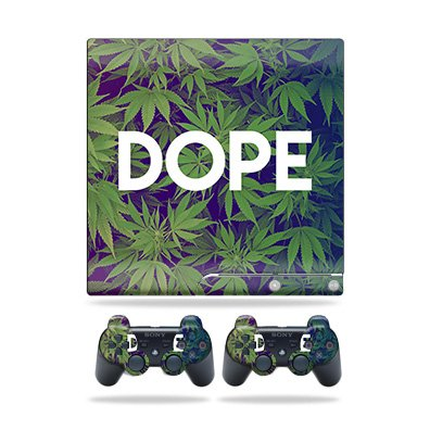 Skin Compatible with Sony Playstation 3 PS3 Slim + 2 Controllers - Dope | MightySkins Protective, Durable, and Unique Vinyl wrap Cover | Easy to Apply, Remove, and Change Styles | Made in The USA (Ps3 Controller Skin Weed)