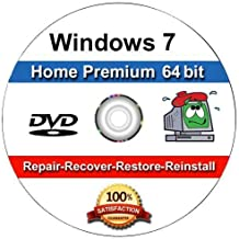 WINDOWS 7 Home Premium 64-Bit Compatible Versions Re-install Windows Factory Fresh! Recover, Repair, Re Install - Restore Boot Disc ~ Fix PC - Laptop - Desktop ~DVD/ROM