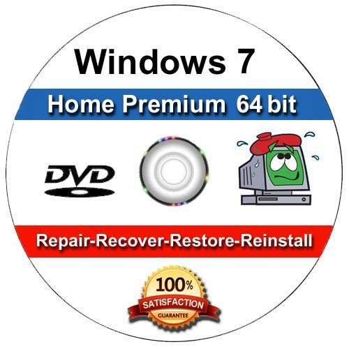 WINDOWS 7 Home Premium 64-Bit Compatible Versions Re-install Windows Factory Fresh! Recover, Repair, Re Install -...