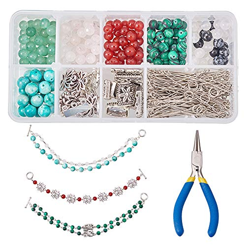 SUNNYCLUE 1 Box DIY 6 Set Natural Stone Beaded Chain Bracelet Making Kit with Silver Tone Toggle Clasp Link and Round Nose - Set Clasp Beaded