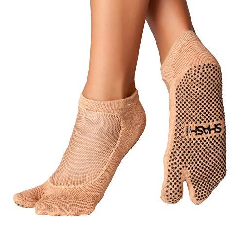 Shashi Nude Mesh Non Slip Split Toe Ergonomic Socks Pilates Barre Ballet Yoga Dance Nude Small / 5.5-7.5