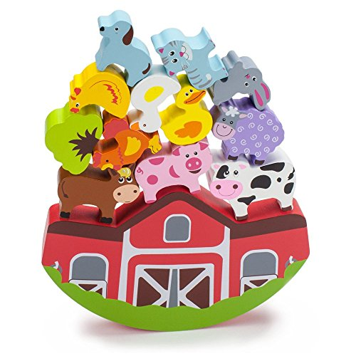 Wooden Wonders Balancing Block Barnyard Playset (13 pieces) by Imagination - Game Boat Balancing
