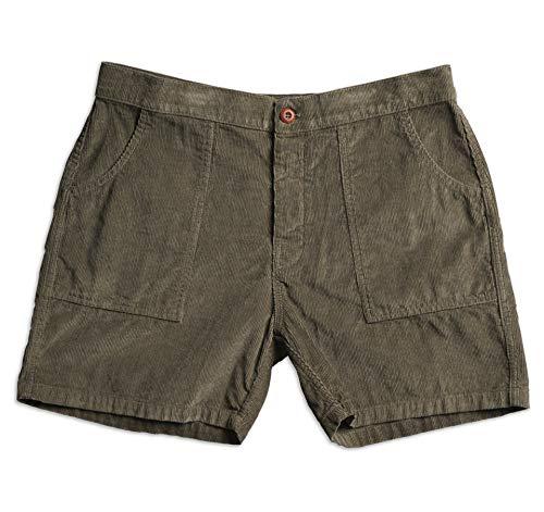 Birdwell Men's Classic Cotton Corduroy Shorts (Olive, 32)