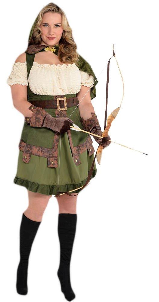 Confettery - Damen Robin Hood Lady Komplett Kostüm Kleid, Grün, Größe 3XL