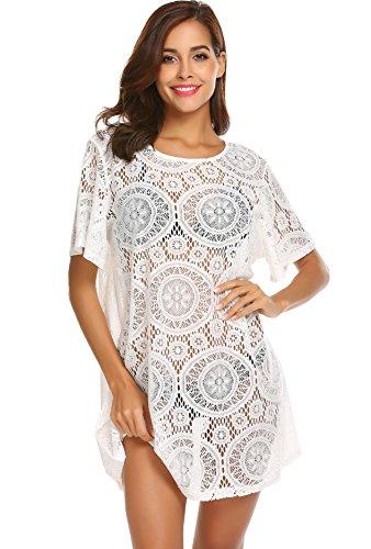Yayado Womens Summer Crochet Lace Dresses Swimsuit Bikini Beach Swimwear Cover up