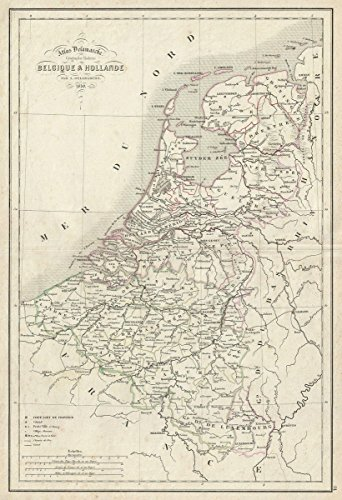Historic Map | Delamarche Map of Holland and Belgium, Version 2, 1850 | Historical Antique Vintage Decor Poster Wall Art | 16in x 24in