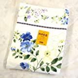 Thick cotton blanket Blue Japan Imabari cotton blanket woven jacquard of large floral (japan import)