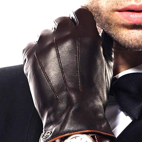(Luxury Men's Touchscreen Texting Winter Italian Nappa Leather Dress Driving Gloves (Cashmere/Wool/Fleece Lining) (8 (US Standard Size), Brown (Cashmere Lining)) )