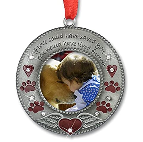 In Loving Memory Pet Ornament - Pet Memorial Christmas Photo Ornament - Furever in my Heart - Red Hearts with Angel Wings and Paw Prints - Pet Sympathy Gifts - Loss of a - Picture Paw Print