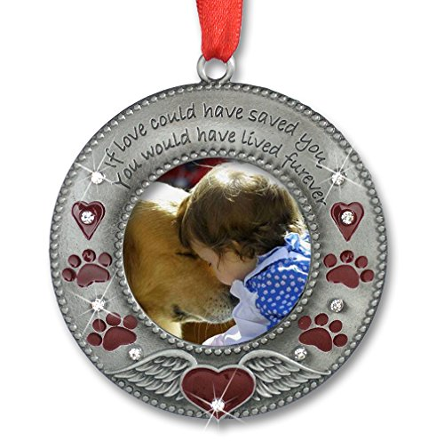 In Loving Memory Pet Ornament - Pet Memorial Christmas Photo Ornament - Furever in my Heart - Red Hearts with Angel Wings and Paw Prints - Pet Sympathy Gifts - Loss of a Pet (Photo Memories Pet)
