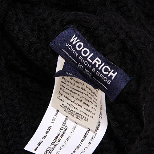 Woman Woolrich Wool Nero Scarf Donna Sciarpa Black 1070w rnxqrYC