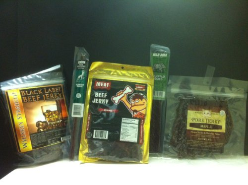 MEAT-MANIAC-Exotic-Gourmet-Jerky-Sampler-Gift-Pack-Black-Label-Whiskey-Straight-Beef-Jerky-3oz-Meat-Maniac-Original-Beef-Jerky-3oz-Meat-Maniac-Maple-Bacon-Jerky-2oz-Buffalo-Bobs-Wild-Game-Snack-Sticks