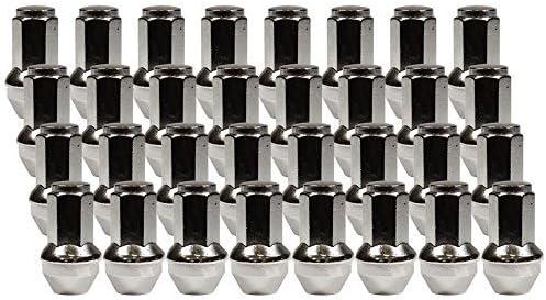 クロム デュプレックス バルジ コーン シート ラグナット 取り付けキット (32ナット) 14mm 1.50 スレッドピッチ 長さ2.12インチ 六角21mm