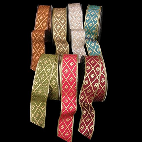 Silver Diamond Print Taffeta Wired Craft Ribbon 1.5