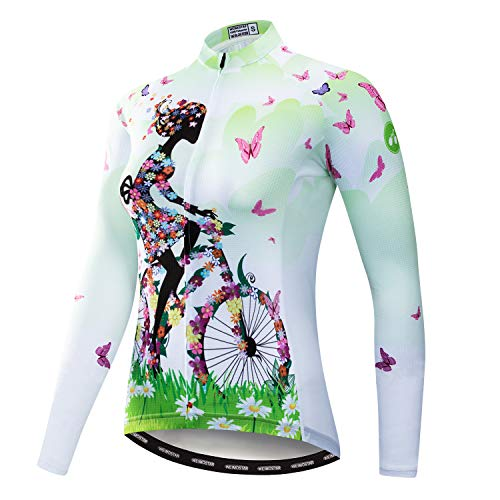 Weimostar Women's Cycling Jersey Long Sleeve Bike Jacket Biking Shirt Bicycle Clothing Breathable Girl Riding Green Size M