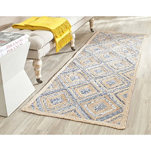 Safavieh CAP354A-210 Hand-Woven Cape Cod Natural / Blue Jute Runner Rug (2' x 10') (Cape Cod Braided Rugs)