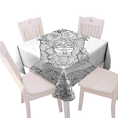 (Picnic Cloth Girl with Calavera Makeup Holding Sugar Skull Halloween Coloring Page Square Tablecloth W 60
