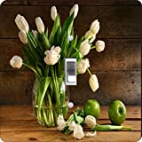 Rikki Knight RK-LSPS-8970 White Tulips In Glass Vase On Rustic Wood With Green Apples Design Light Switch Plate Cover